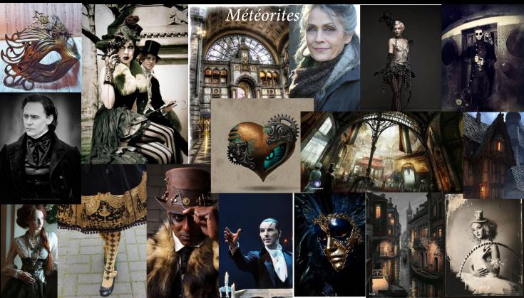 Tableau d'inspiration / moodboard pour Météorites