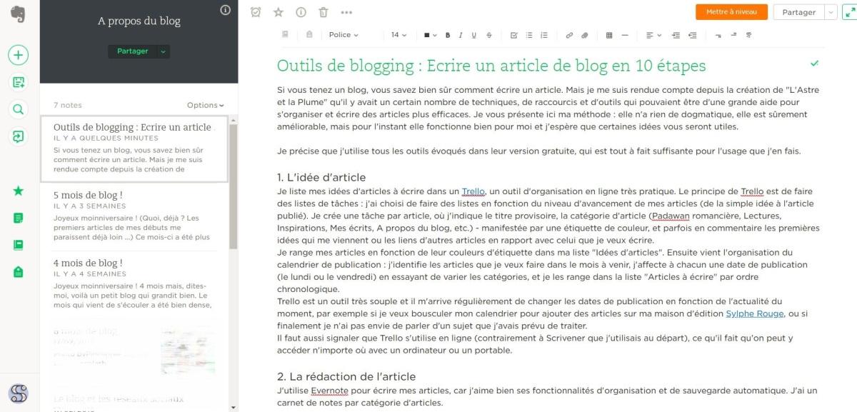 Présentation de mon mode de travail pour rédiger mes articles dans Evernote