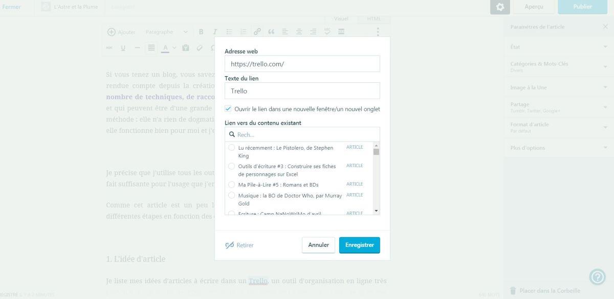 Vue d'un article en cours d'édition dans l'interface WordPress