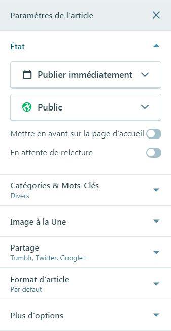 Outils de paramétrage d'un article dans WordPress