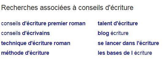 """Google Analytics : mots-clés associés à la recherche """"conseils d'écriture"""""""