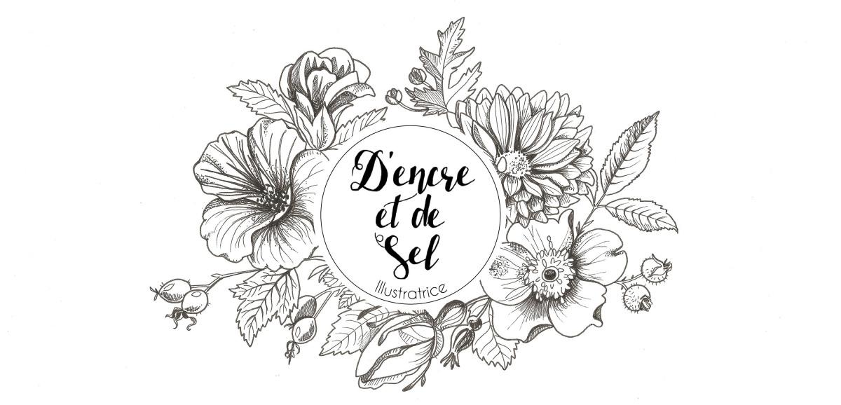 """Logo du blog de l'illustratrice """"D'encre et de sel"""""""