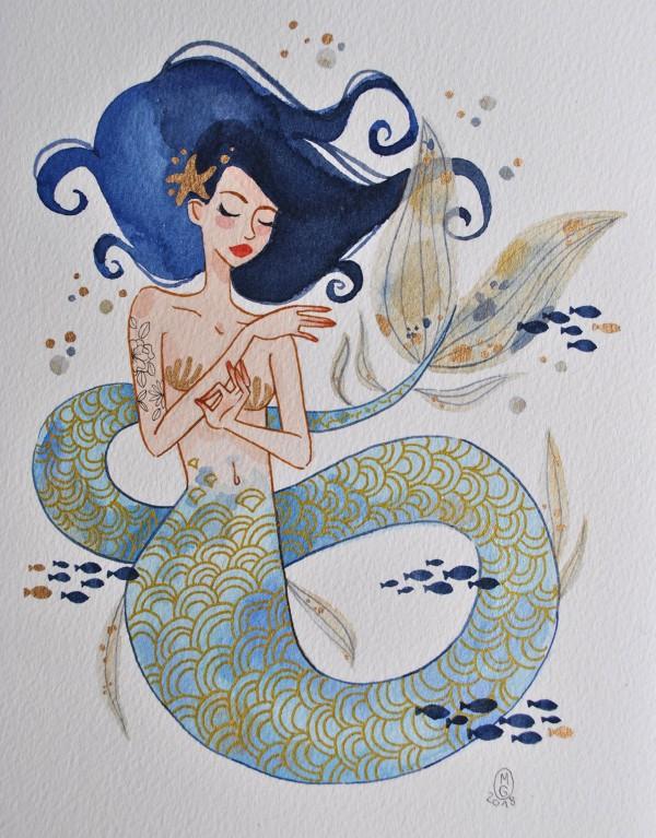 Sirène aux cheveux bleus pour le défi Mermay de D'Encre et de Sel