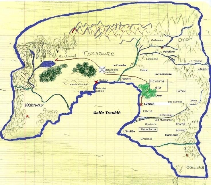 """Carte des Royaumes-Désunis, l'univers du roman de fantasy """"Le Page de l'Aurore"""""""