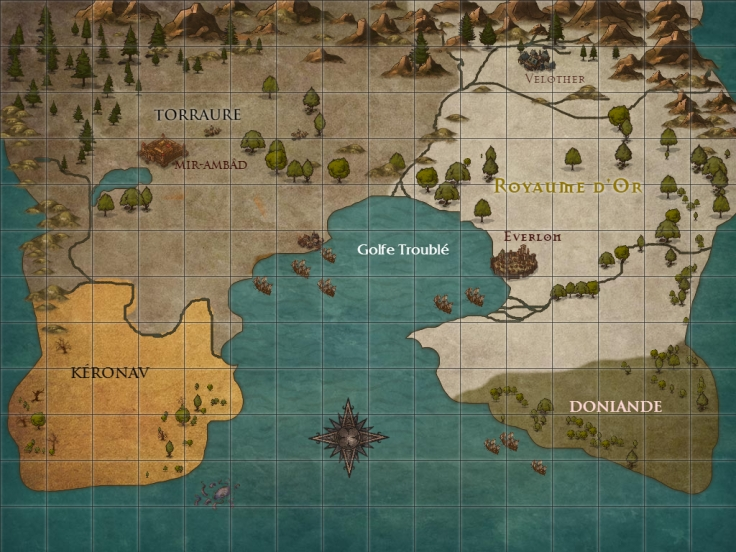 Carte des Royaumes Désunis via Inkarnate - Le Page de l'Aurore