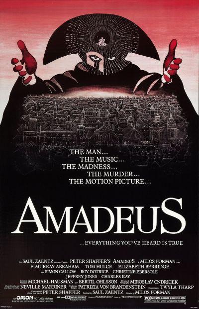 """Affiche du film """"Amadeus"""" de Milos Forman sur la vie de Mozart"""