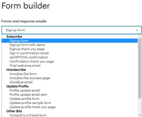 Formulaires d'inscription MailChimp