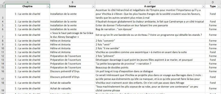 """Liste des corrections de """"Météorites"""" sur Excel"""