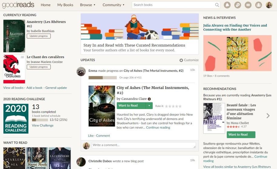 Page d'accueil Goodreads