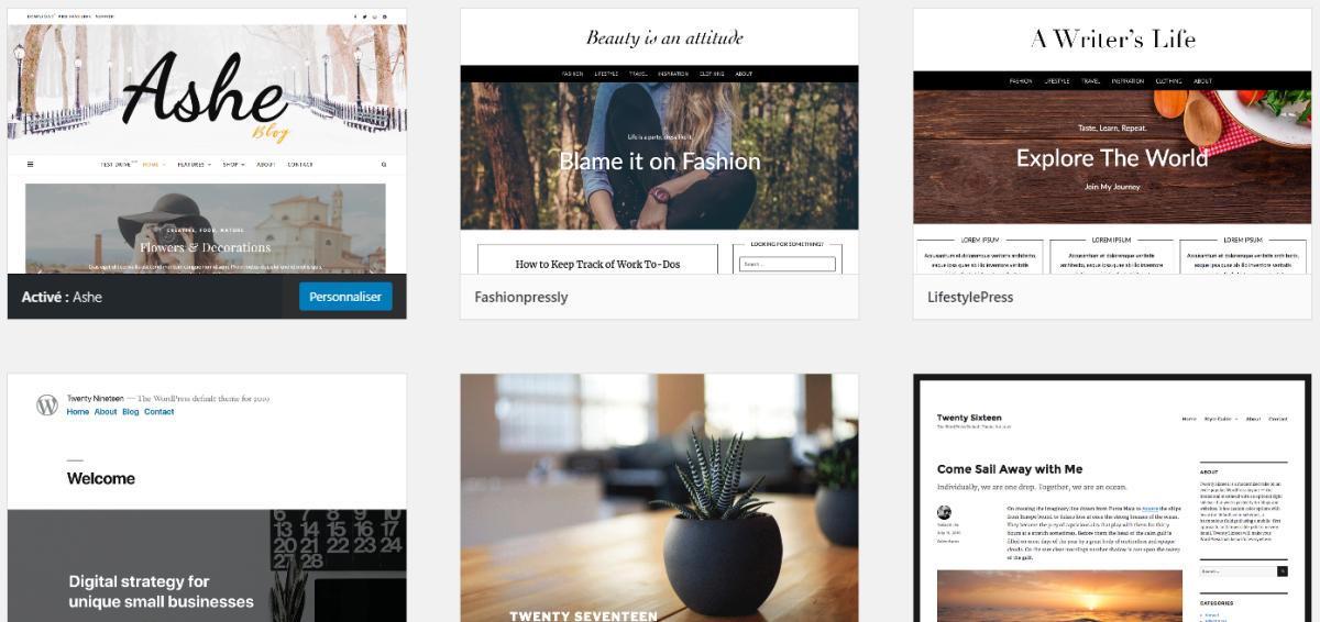 Exemples de thèmes WordPress